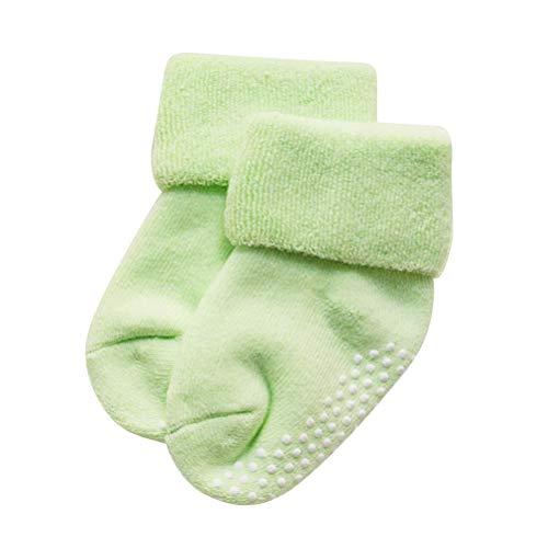 Fenical Baby Socken für Jungen und Mädchen Herbst und Winter Neugeborene Baumwolle Verdickung Lose Mund Kinder Terry Socken 1-3 Jahre alt (milchgrün)