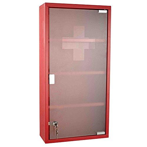 homcom Cassetta Porta Medicine Armadietto Medicinali 4 Livelli Porta Vetro 60×30×12 Rosso