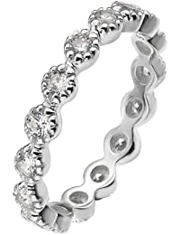 Virtue Silver Stackable VRS5003 Fine Silver Eternity Ring with Cubic Zirconias