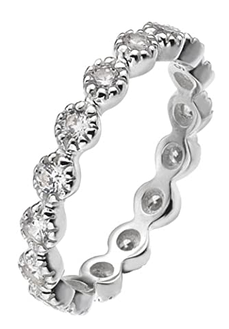 Virtue Damen-Ring Sterling-Silber 925 Zirkonia 49 (15.6) VRS5003-J (Stapelbare Zirkonia Band)