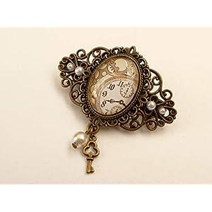 Kleine Haarspange mit Steampunk Uhr Motiv