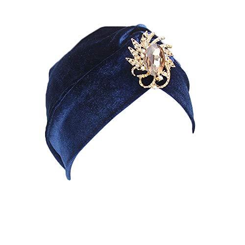 LILIGOD Indian Turban Hat Damen Muslim Kopftuch Wrap Cap Beanie Hut Plissierter Samt...