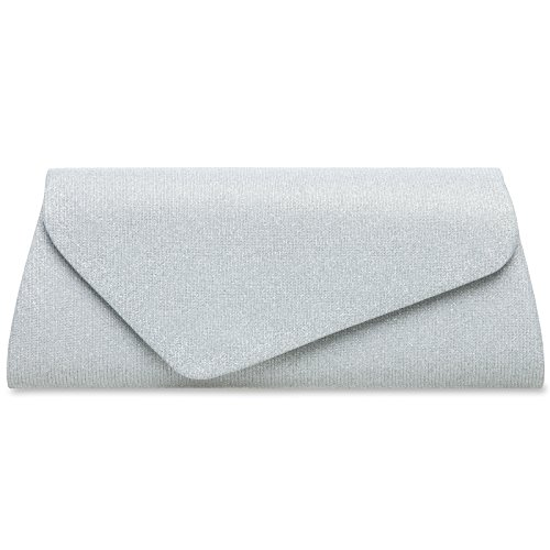 CASPAR TA394 Donna Pochette in Tessuto Glitter con Catena, Colore:argento;Dimensioni:Taglia unica