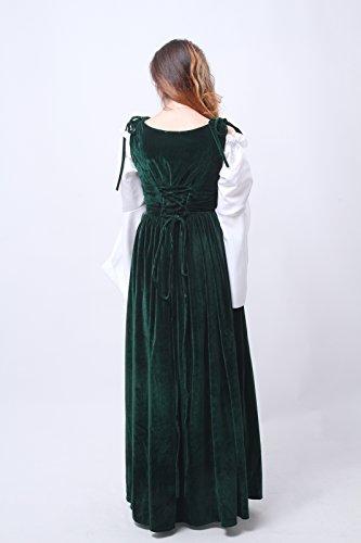 Nuoqi® Damen Kostüm Oktoberfest Bier bar Kellnerin serviert Maid mittelalterlichen außen Kleid langes Kleid Halloween Fancy Dress GC188A