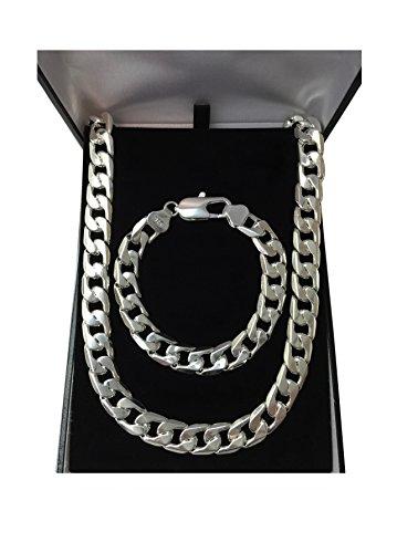 Mens 925 Sterling Silver Super Chunky Bracelet Necklace Jewellery Set SALE!