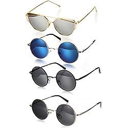 Aroncent 4er Herren Damen Sonnenbrille Retro Polarisiert Sonnenbrille Rund Kreis Strahlenschutz UV400 Verspiegelt Sonnenbrille Vollrand, Silber, Blau, Schwarz