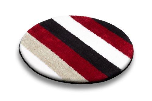 Ilkadim Vonella Badteppich Stribes Schwarz Rot Weiß rund 80 cm Durchmesser, Badematte rutschhemmend (Stribes)