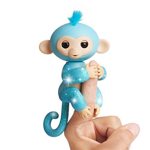 Glitzer Äffchen blau Amelia 3761 interaktives Spielzeug, reagiert auf Geräusche, Bewegungen und Berührungen (Rote Weiße Und Blaue Haare)