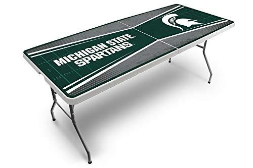 Proline NCAA College Klapptisch für Heckklappe, Kunststoff, 6,4 x 1,8 m, Unisex, Michigan State Spartans 2.5\' x 6\' Folding Plastic Tailgate Table, Team Color, 2.5\' x 6\'
