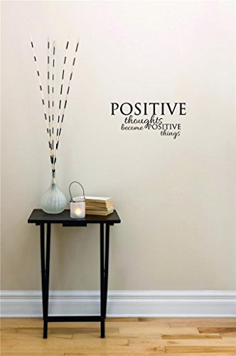 pegatinas de pared vinilo Peel & Stick Wall Sticker : Positive Thoughts Become Positive Things Inspirational Life Quote - Self Esteem Home Decor Picture Art Size :8 Inches x 20 Inches