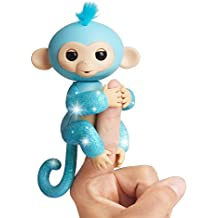 Fingerlings Glitter Monkey - Amelia (Turquoise Blue Glitter) - Interactive Baby Pet - By WowWee