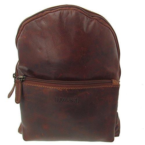 flevado Lozano Echt Leder Rucksack Schultertasche Ledertasche Lederrucksack Vintage für Outdoor Retro Style