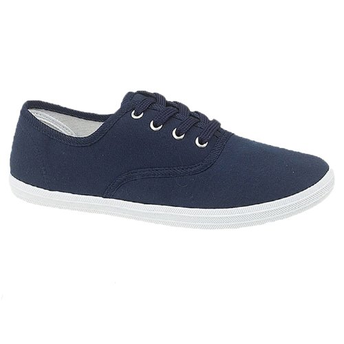 PLIMSOLES PLIMSOLLS LACE UP PUMPS ESPADRILLES TRAINERS SHOES CANVAS LADIES WOMENS MENS BOYS GIRLS NAVY SIZE 4/37