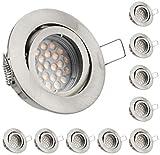 10er LED Einbaustrahler Set mit LED GU10 Markenstrahler von LEDANDO - 5W - schwenkbar - warmweiss - 60° Abstrahlwinkel - A+ - 50W Ersatz - silber - gebürstet