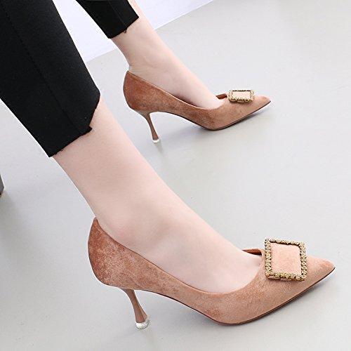 kphy della piuma d' oro di seta. Raso e versatile luce ugello punta 7.5cm High Heels metallo clip Fein con un singolo scarpe donna Beige