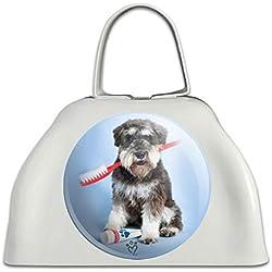 Schnauzer Welpe Hund mit Zahnbürste Zahnarzt weiß Metall Cowbell Kuh Glocke Instrument
