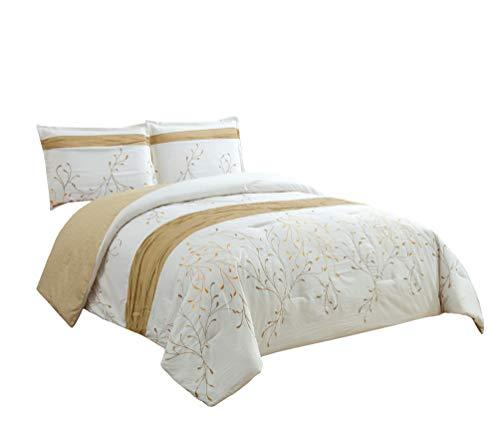Chezmoi Collection Freude 3-teilig Elfenbeinfarben/Gold Äste Stickerei Design Bettbezug Set, Polyester-Mischgewebe, Ivory, Gold, King Size (König Bettwäsche-sets Elfenbein)
