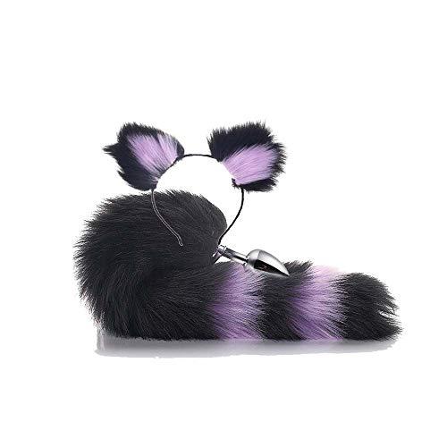 ieyol Haarband mit Katzenohren, Plüschtier, Fuchsschwanz, für Halloween-Kostüm, Schwarz