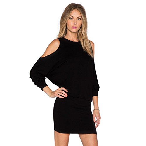 Reasoncool Donne sexy Solid manica lunga Off Qualora Mini Club Party Dress Sera (S, Nero)