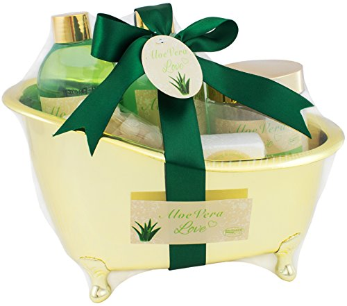 Brubaker set da bagno 'aloe vera love' presentato in una mini vasca da bagno color oro, 6 pezzi