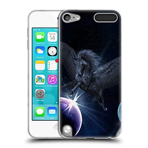 Head case designs ufficiale simone gatterwe pegaso nero unicorno cover in morbido gel compatibile con apple ipod touch 5g 5th gen