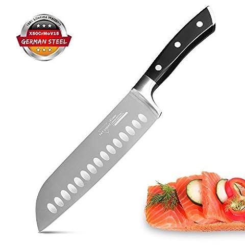 Couteau Santoku Couteau de Cuisine Couteau de Japonais Professionnel 17 cm Forgé Lame Acier Inoxydable avec Poignée Ergonomique Antidérapante