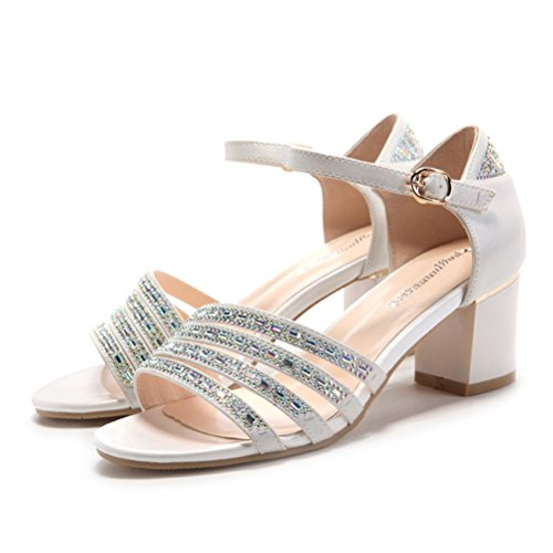 Damen Sommer Moderne Riemchen Schnalle mit Strass Pumps Lässige Anpassened  überall Modische Blockabsatz Sandalen Weiß