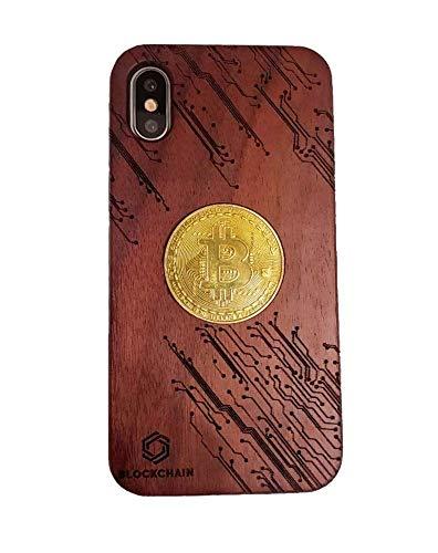 BITCOIN HANDYHÜLLE mit Krytodesign von PISDEZ für Iphone Samsung Huawei mit einer Bitcoinmünze