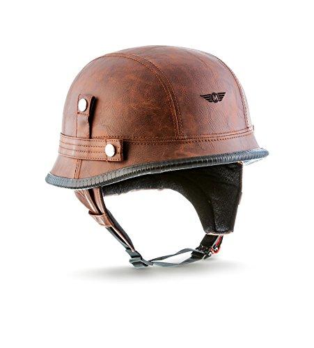 "MOTO · D33\""Leather Brown\"" (Brown) · Jet-Helm Braincap Bobber Halbschalen · Motorrad-Helm Scooter-Helm Chopper Mofa Roller Retro · Click-n-SecureTM Clip · Tragetasche · L (59-60cm)"