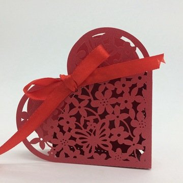 PONATIA 50 PCS Laser Cut Heart-shaped Candy Box Wedding Party Favor, Wedding Gift Bags Chocolate Candy and Gift Boxes