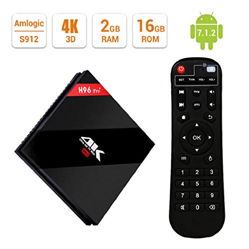 EstgoSZ Android 7.1 Smart TV Box, 4K Ultra HD Boîtier TV, Amlogic S912 Octa Core 64Bits 2Go DDR3 16Go EMMC Set Top Box avec 2.4 / 5GHz Dual WiFi 1000M LAN Bluetooth 4.1 H.265 3D