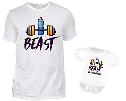 Vater Baby Partnerlook Set Tshirt Baby Body Strampler Set Best Und Beast In Training Rundhals Bodybuilding Fitness Partneroutfit (L & 0-6 ()