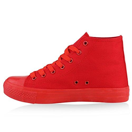 Damen Sneakers High Top Sportschuhe Stoffschuhe Freizeit Schnürer Rot