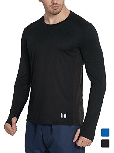 Men Athletic Long Sleeve T Shirt Moisture Wicking performance Slim Fit Dry Fit Active wear Thumb Hole Round Crew Neck Cycling Running Fitness Workout (Black/XL) (Crew T-shirt Performance)