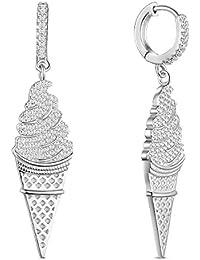 SHEGRACE Orecchini di forma gelato 925 Sterling Silver Platinum placcato cuore otto, otto orecchini di zircone arrrows per le donne
