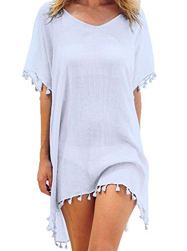 Damen Strandkleid Bikini Cover Up Quasten Strandponcho Sommer Bademode Freie Größe Weiß