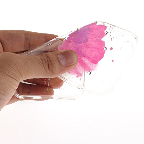 iPhone 6S 4,7Zoll Hülle,iPhone 6 Silikon Schutzhülle,TOYYM Ultra Dünn Transparent Weich Flexibel TPU Bumper Gel Glizter Diamant Silikonhülle Backcover,Retro Muster Design Clear Crystal Durchsichtig Ha Pinke Blume