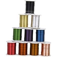 10 Rollos 0.3mm Color mezclado Alambre de Cobre DIY Rebordea Cuerda