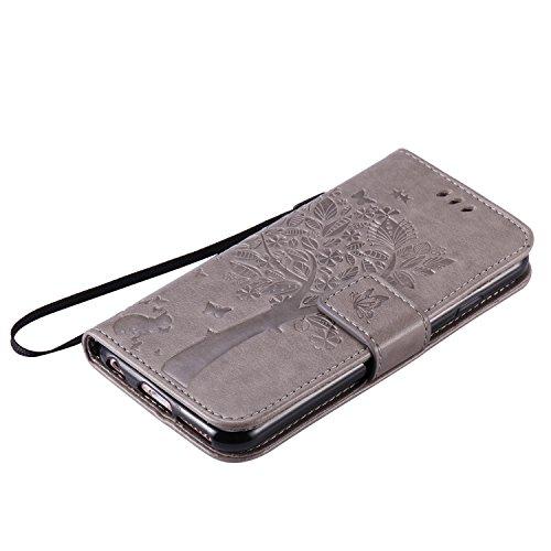 OuDu Impressum Muster Hülle für iPhone 6/6S PU Leder Handyhülle Klapp Buch-Stil Ledertasche Baum&Schmetterling Schale Einzigartige Entwurf Tasche Kompletter Schutzhülle Flip Wallet Case Silicone Inner Grau
