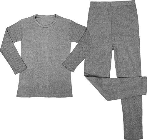 Kinder Thermo-Unterwäsche Set (Langärmligem Oberteil + Langer Unterhose) - Atmungaktiv, Wärmend und Kuschelig - ÖkoTex100 Farbe Grau Größe XL/164-176 -