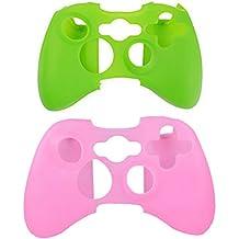 Funda de piel de silicona 2X para controlador Xbox360 (PINK, GREEN)