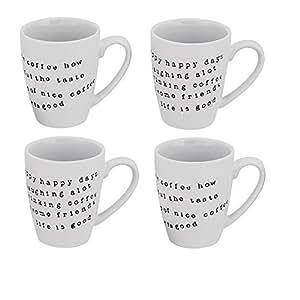 Sia Home Fashion 10 cm-Lot de 4 Mugs en Céramique Blanc avec inscription