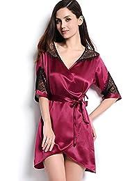e45a1a8ad HEXUQIANG HXQ Bañadores de Mujer Vestidos de Seda Pijamas Ocasionales Vestidos  Cortos de Kimono V-