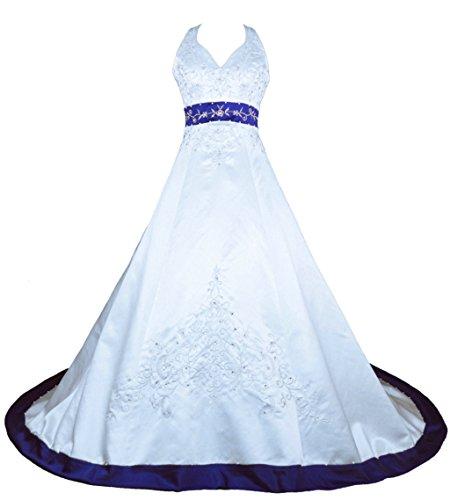 Vantexi Damen Halfter Stickerei Satin Hochzeitskleid Brautkleider Weiß Blau 38