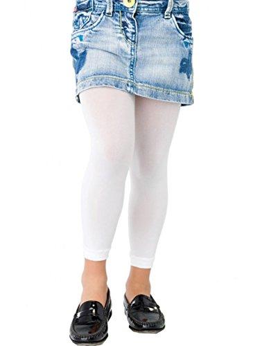 4eced76b34b72 TLLC Footless Girls Tights 60 Denier Opaque Plain Microfibre (Age 5-6, White