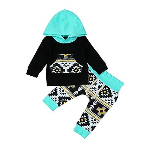 vêtements de garçon, SHOBDW 2pcs Toddler Baby Boy Geometric Hoodie Tops + Pants Ensemble de vêtements (Taille: 12 mois, Noir)