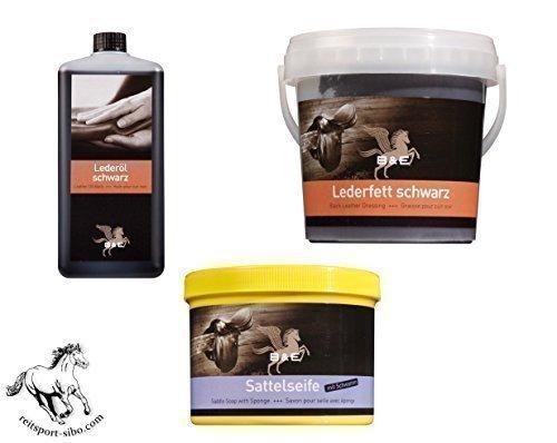 Preisvergleich Produktbild Mega Sparset, Lederpflege schwarz: 500 ml Lederöl schwarz, 500 ml Lederfett schwarz, 500 ml Sattelseife mit Schwamm