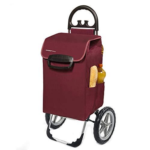 XXL Einkaufstrolley Kiley mit großen Rädern in bordeaux 78L - großer Einkaufswagen Trolley Einkaufsroller bis 50kg belastbar
