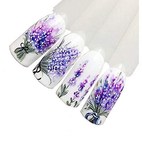 VANMO Nail Art Sticker, Lila Lavendel Design Nail Art Folie Aufkleber Transfer Decal Tipps Maniküre Hab jeden Tag Einen Blumenstrauß, Hab Den Ganzen Tag Spaß