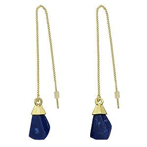 Feelontop® New Goldtroddel Kette Geometrische Gefälschte Naturstein Charme baumeln Ohrringe mit Schmuckbeutel
